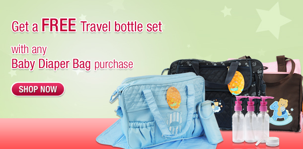 Get a FREE Travel bottle set - with any Baby Diaper Bag purchase